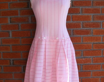 Cute Pink White Spring Summer Dress / 50s Vintage Country Girl / Rockabily Pin Up Day Dress
