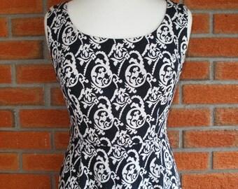 Rockabilly Vintage Evening Gown Dress / Beautiful Black White Pattern / One Of A Kind / Viva Las Vegas Gown / Dita Von Teese