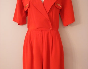Super Sexy Red 80s High Fashion Spring Nautical Style Onesie With Gold Metal Detailing