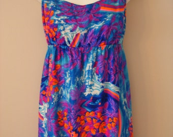 Hawaii Vacation Getaway Vibrant Blue Purple Neon Colored Vintage Dress