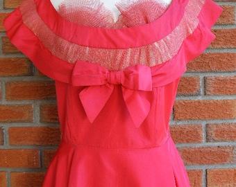 Red Tafetta Pin Up Dress / 70s Vintage Mad Men Style / Evening Rockabilly Dress