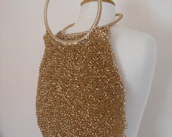 Unique Handmade Gold Plastic Funky Boho Chic 70s Vintage Purse Perfect for your Spring Summer Festivals