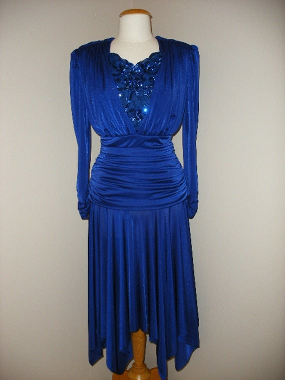 Rich Dark Blue Colored High Fashion 80s Dress With Sequin Detailing On Chest Area