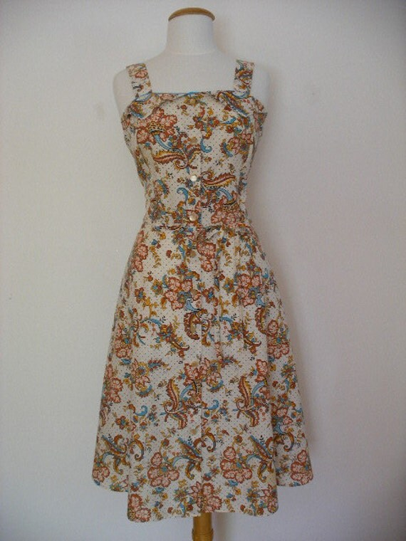 Floral Paisley Vintage 60s Spring Summer Day House Dress