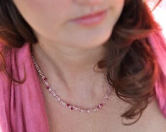 Fuscia Pink Swarovski Necklace