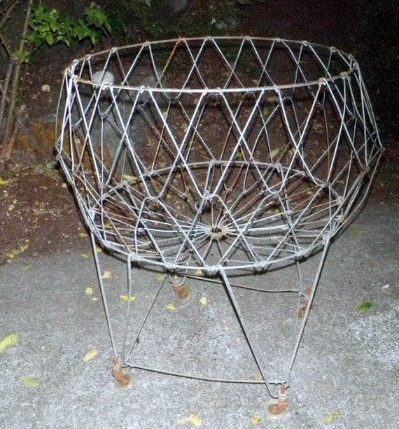 Vintage Folding Wire Laundry Basket With Wheels Great For