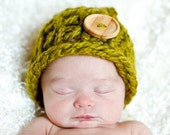 Farmers Market Knit Hat with cute wood Button-Newborn- Photo Prop