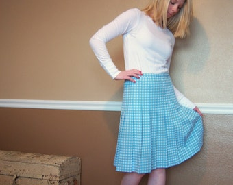 Blue and White Pleated Gingham Vintage 60s Skirt M