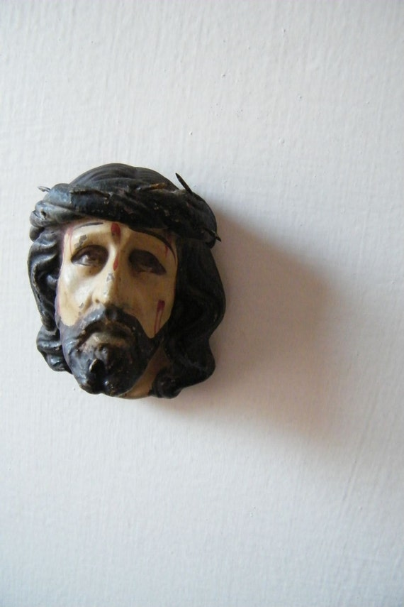 Antique Clay Bleeding Head of Christ with Crown of Thorns