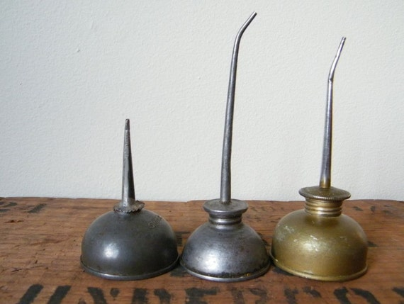 Vintage Metal Small Oil Can Collection Lot of 3