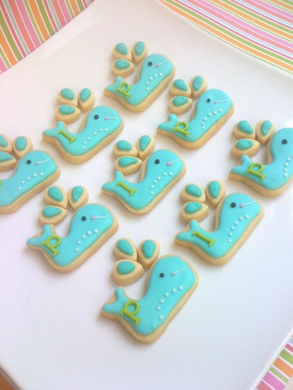 For HEPBURNGONERETRO only Preppy Whale Cookie Favors (2 dozen Whale Cookies and 6 dozen Water Drops)