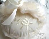 Powder Puff Duster creamy ivory eyelet soft plush handmade like an ivory cloud