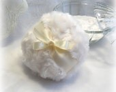 POWDER PUFF - soft cream and ivory - creme blanc pouf - gift boxed - body powder duster
