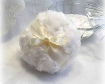 POWDER PUFF - soft cream and ivory - creme blanc pouf - gift box option- body powder duster - Handmade by Bonny Bubbles