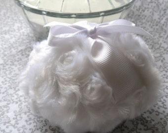 WHITE Powder Puff - pouf blanc - snow powderpuff - gift box option - handmade by Bonny Bubbles