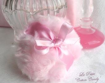 Powder Puff - La Petite Cotton Candy - pink miniature pouf - gift box option - by BonnyBubbles