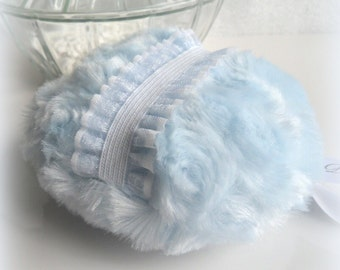 Powder Puff - ice blue powder pouf - bleu bath puff - powderpuff, gift boxed - handmade by Bonny Bubbles