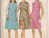 Vintage 60s Mod Dress Pattern, Sleeveless Jumper size 12 bust 32 Simplicity 7080 UNUSED FF, s sx