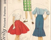 1950s Vintage Rockabilly Pencil Skirt  Full Skirt Sewing Pattern Simplicity 2817 Waist 23 Vintage Girls Pattern