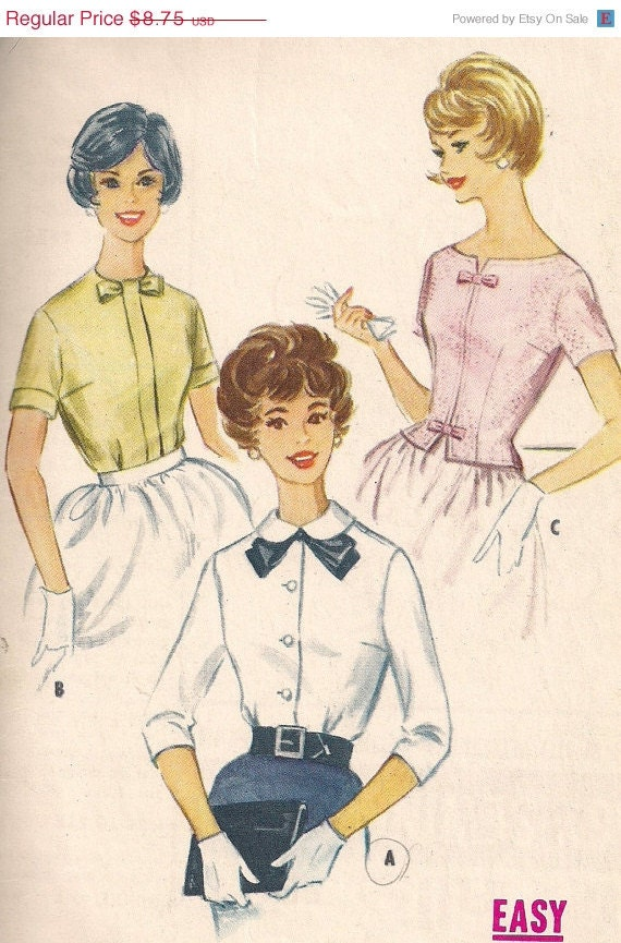 Vintage 60s Blouse Pattern McCall's 5571 Tuck In Shirt, Size 10, 31 Bust