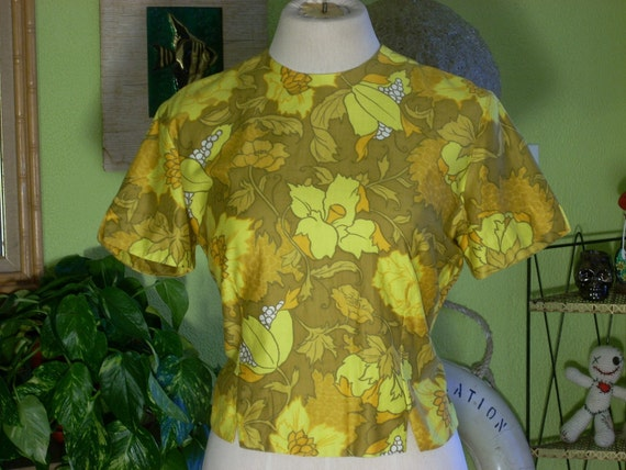 Vintage 1950s Hawaiian Shirt Cotton Blouse, FRITZI,Bust 40