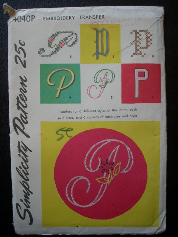 Vintage 1950s 50s  Embroidery Transfer Pattern for the Letter P,MONOGRAM, Simplicity 4040P Unused  Ff