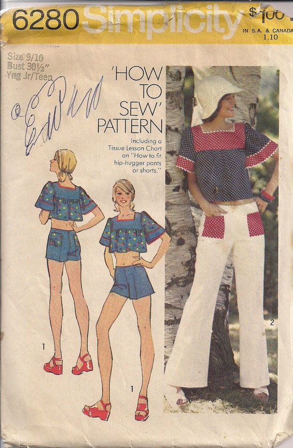 Vintage 70s Sewing Pattern, Hip Hugger Bell Bottoms Midriff Top Shorts Pattern, Simplicity 6280, Size 9 10, Bust 30 31
