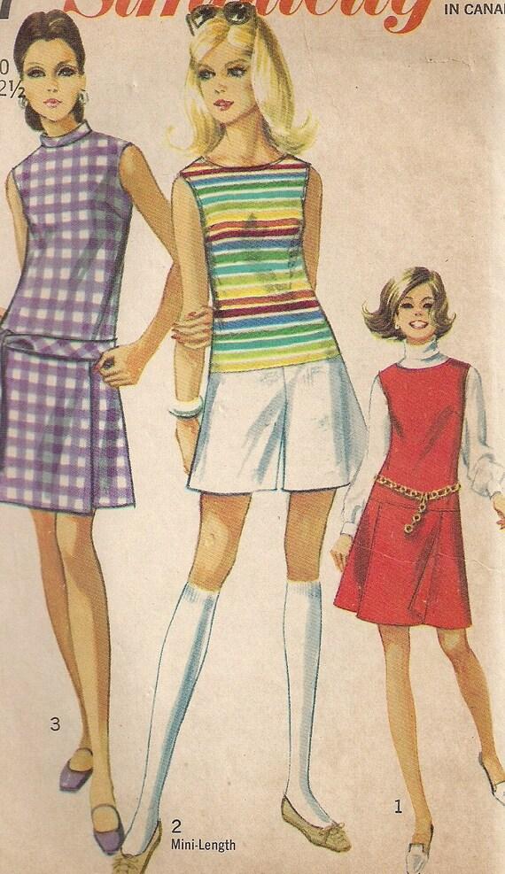 Vintage 60s MOD MINI Pant Dress Jumper Romper Pattern, Simplicity 8147, size 10, bust 32 1/2 -CUTE-