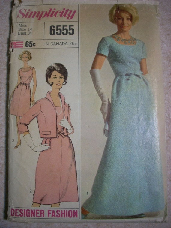 Vintage 1960s Mad Men Evening Dress and Jacket Pattern,Designer Fashion , Simplicity 6555