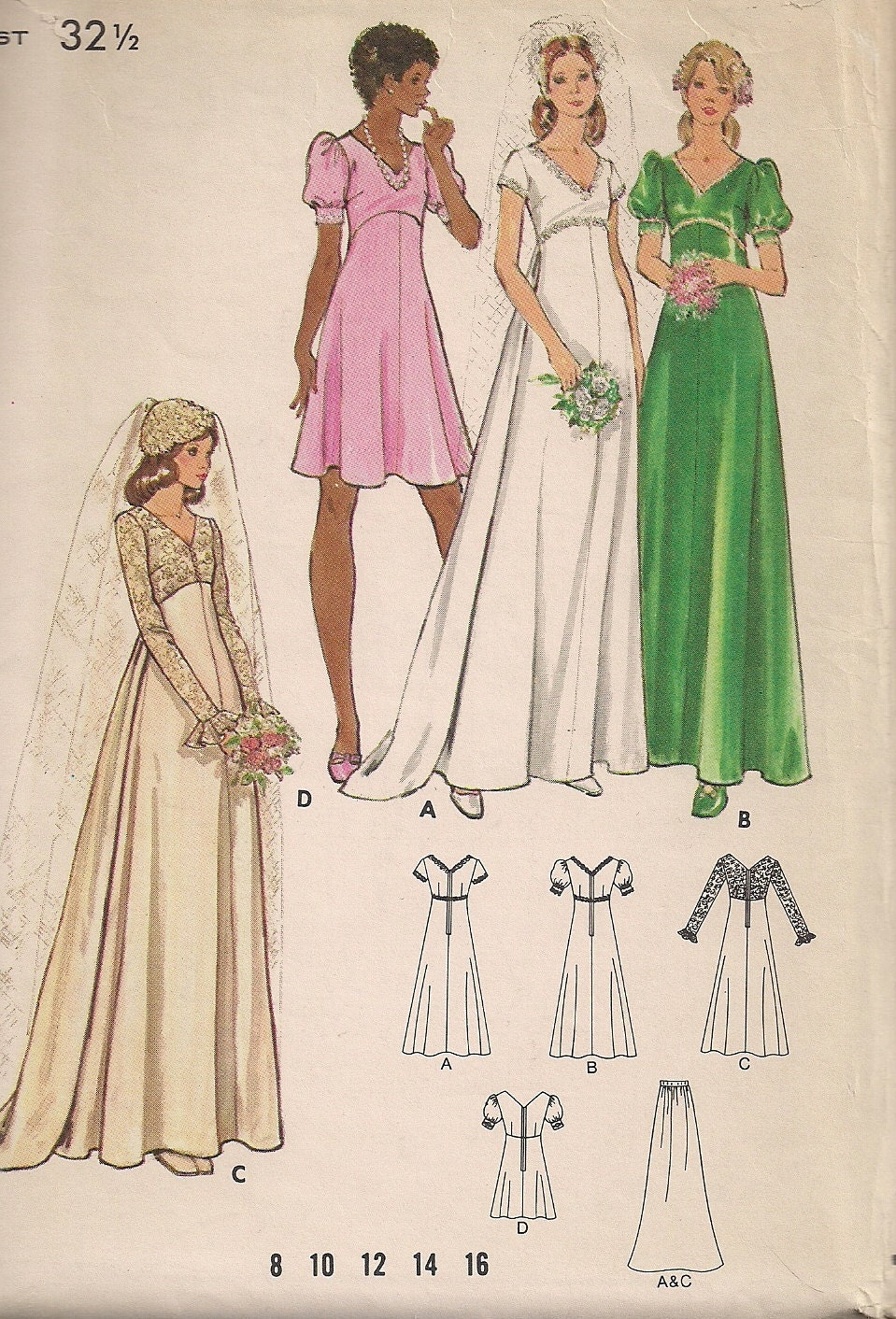Vintage 70s wedding dress pattern brides maid dress empire for Wedding dress patterns vintage