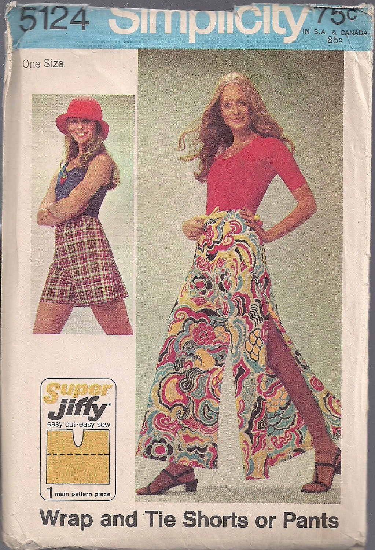 Vintage 1970s 70s Wrap Pants Sewing Pattern Simplicity 5124