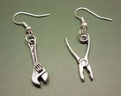 Spanner Pliers Earrings - funny earrings geek earrings cute earrings weird jewerly funky earrings rockabilly earrings emo gothic earrings