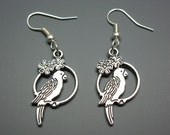 Little Parrot Earrings - budgie earrings parakeet on swing mini bird cage earrings cute earrings animal jewellery fun jewelry silver plated