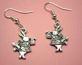 Rabbit Earrings - Alice In Wonderland earrings cute earrings bunny earrings quirky jewelry retro jewellery fun earrings kawaii earrings
