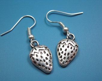 Strawberry Earrings - cute earrings kawaii earrings fun kitsch jewelry chic tiny small size fruit earrings food earrings silver plated