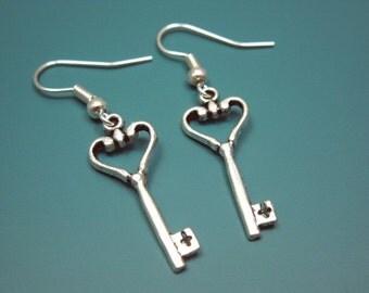 Key To My Heart Earrings - key earrings romantic earrings cute earrings alice in wonderland inspired jewellery silver plated szeya designs