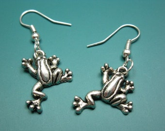 Treefrog Earrings - fun earrings quirky earrings funny earrings animal earrings kitsch earrings cute earrings fish earrings silver plated
