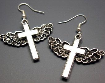 Winged Cross Earrings - angel wings punkrock kitschy gothic jewelry rockabilly jewellery by szeya designs
