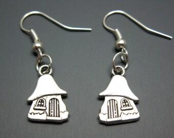 Mushroom House Earrings - gnome cute earrings retro earrings old school jewelry 80s 90s cartoon quirky funny earrings kawaii earrings