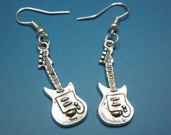 Guitar Earrings - musical instrument music jewelry geek chic rockabilly earrings quirky funky earrings punk jewellery punkrock silver plated