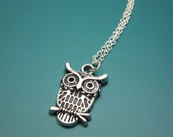 Owl On Branch Necklace - stainless steel chain owl necklace bird necklace retro jewelry animal nekclace style tree simple cute necklace