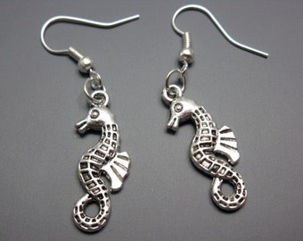 Seahorse Earrings - sea dragon earrings sea creature animal earrings fun cute earrings rockabilly jewellery sea horse earrings silver plated