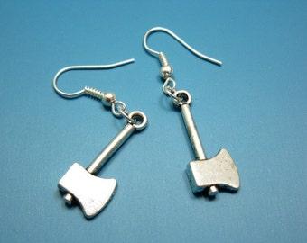 Axe Earrings - zombie weapon murder tool geeky funny earrings scary crazy freaky cute punk jewelry goth emo funky earrings quirky earrings