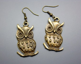 Bronze Owl Earrings - woodland animal earrings bird earrings retro jewelry chic jewellery vintage inspired cute earrings kawaii earrings