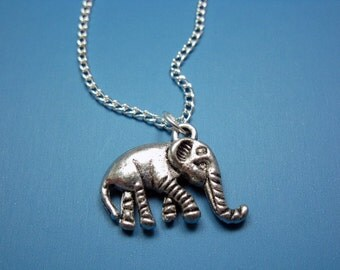 Little Elephant Necklace - stainless steel chain animal jewelry lucky charm good luck jewelry funny jewellery cute necklace chic silver tone