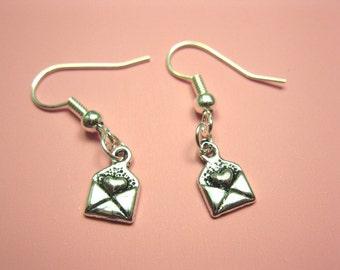 Love Letter Earrings - teeny tiny earrings itty bitty earrings heart envelope mail message email cute earrings minimal minimalist jewelry