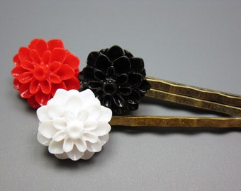 Vamp Bobby Pins - Flower Hair Clip Trio pretty retro hair pins black red white goth gothic style romantic vintage victorian inspired cute