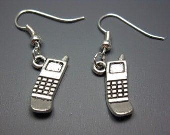 Cell Phone Earrings - geeky earrings geek earrings mobile quirky earrings funky earrings funny earrings cute earrings retro old school chic