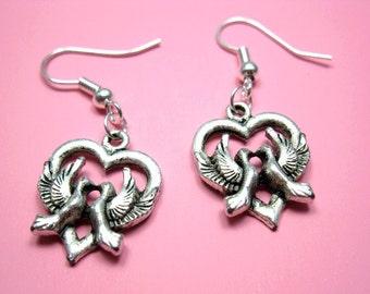 Love Birds Earrings - bird earrings heart earrings animal dove earrings romantic romance chic fashion jewelry retro earrings silver plated