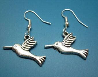 Hummingbird Earrings - humming bird earrings cute earrings woodland animal earrings simple earrings kitsch fun chic earrings silver plated